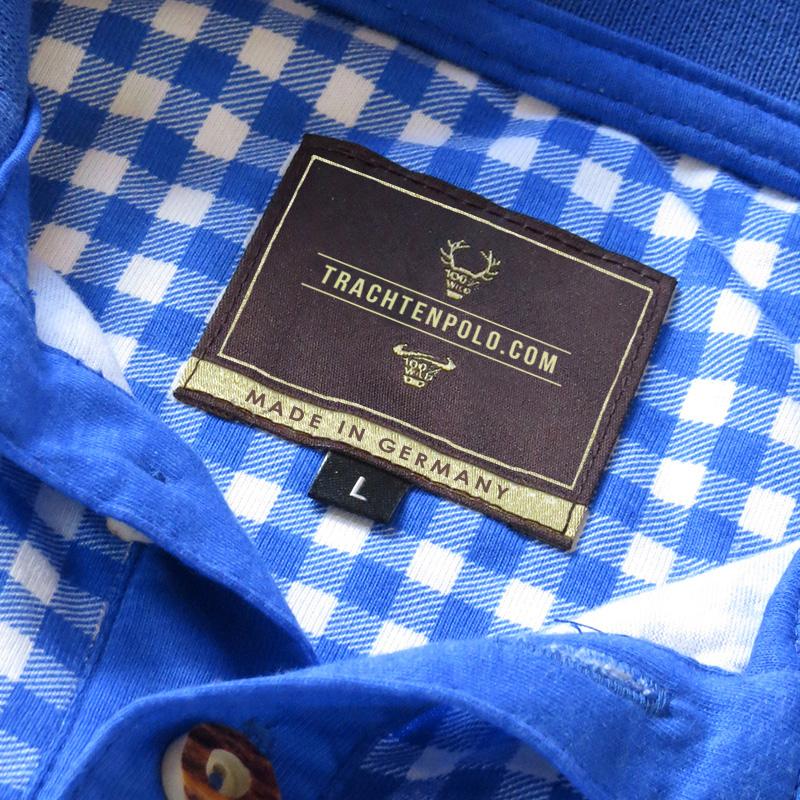 Detail Trachtenpoloshirt blau